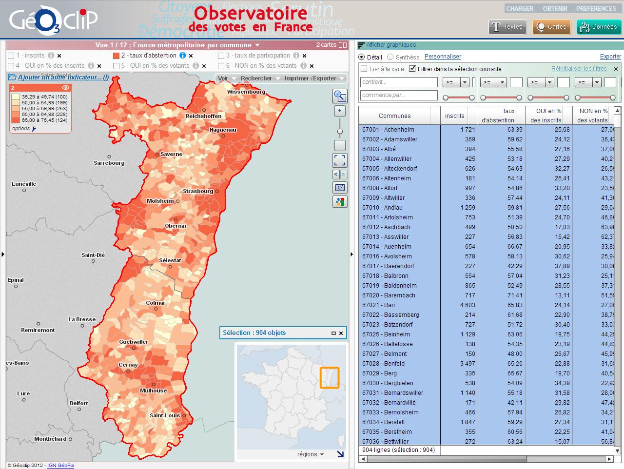 Cartographier les r sultats du r f rendum alsacien for Code postal les vosges