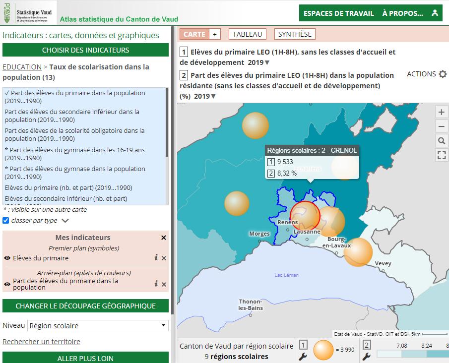 Atlas statistique du canton de Vaud (Suisse) - Éducation