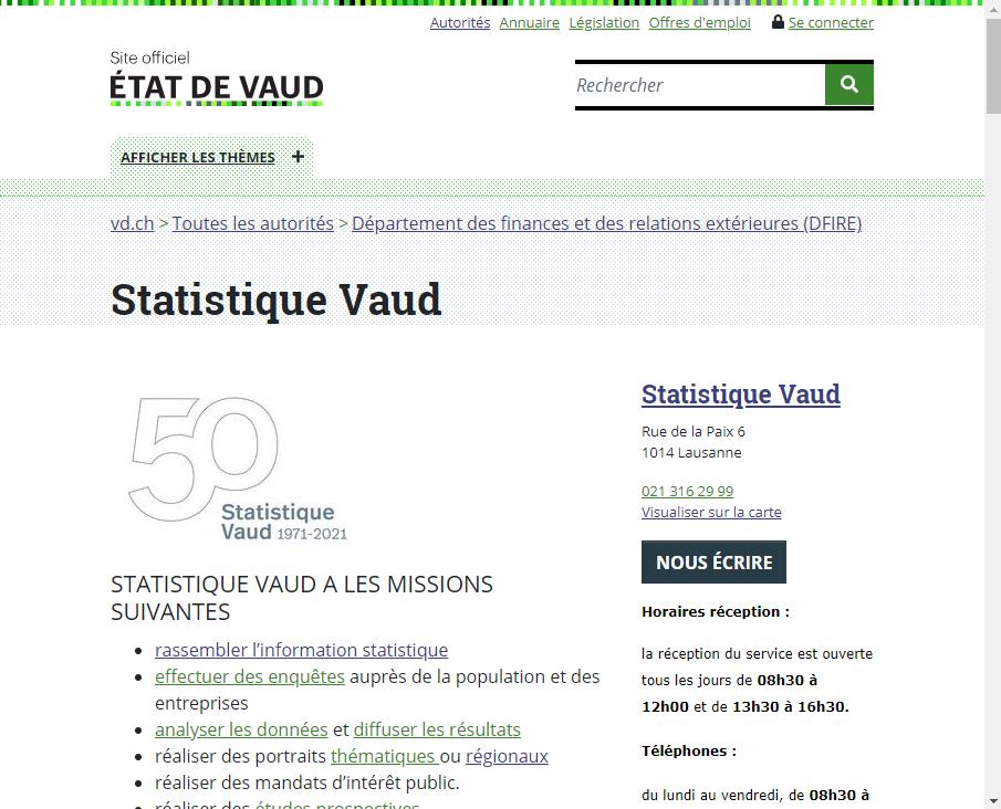 Atlas statistique du canton de Vaud (Suisse) - Site web