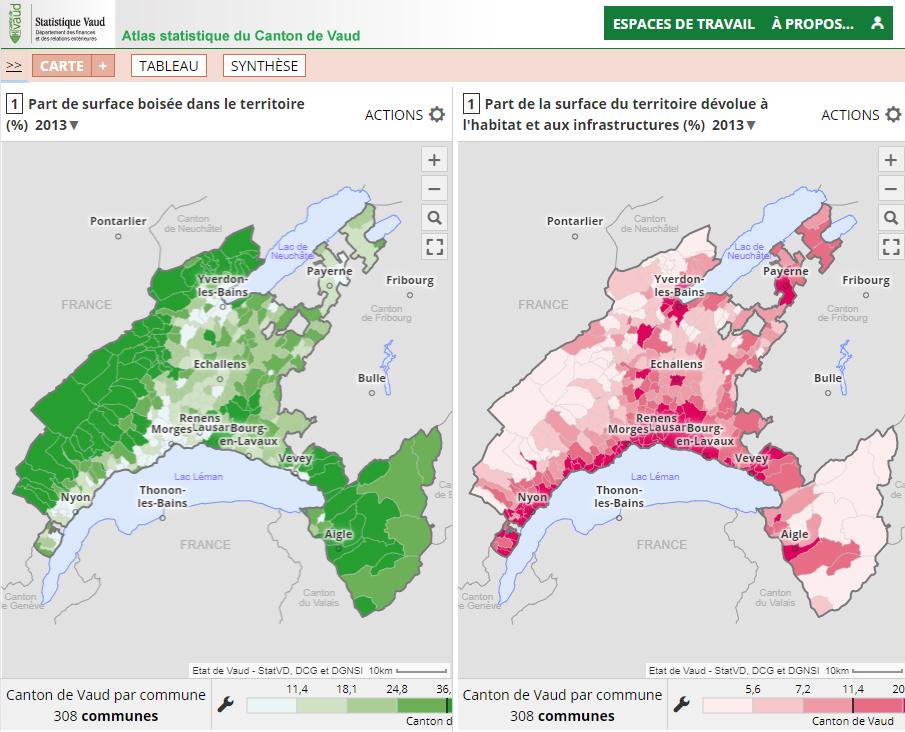 Atlas statistique du canton de Vaud (Suisse) - Utilisation des sols