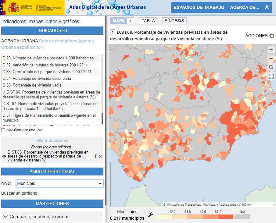 Atlas Digital de las Áreas Urbanas - Pourcentage de logements prévus