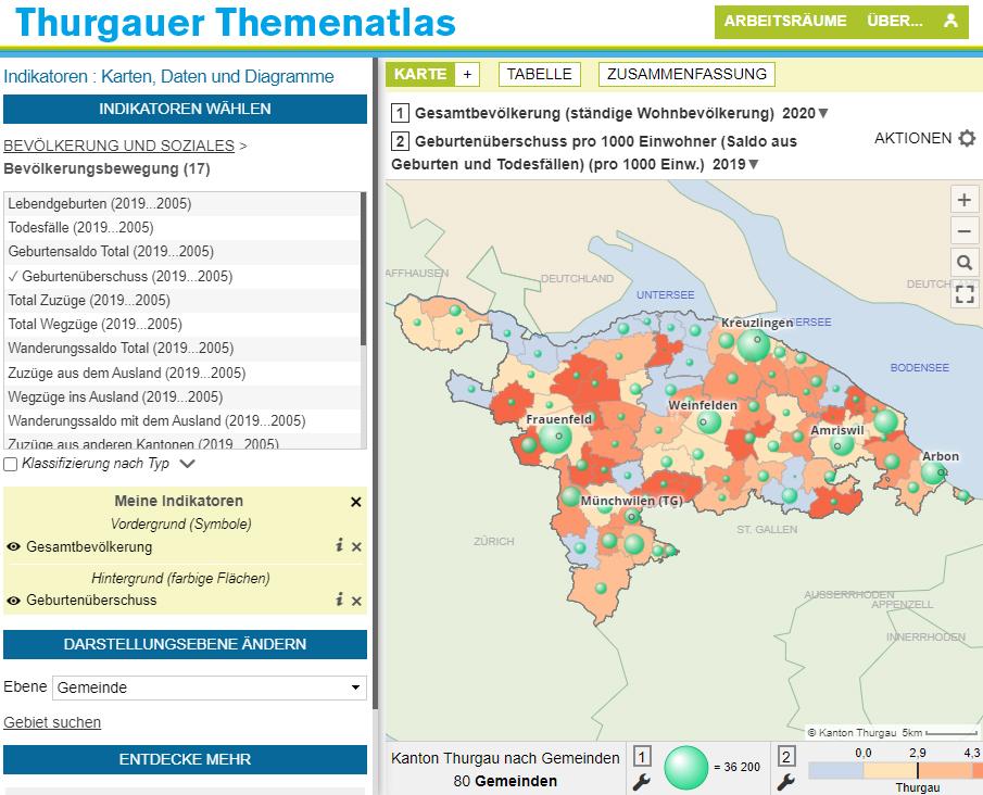 Atlas du canton de Thurgovie - Naissances