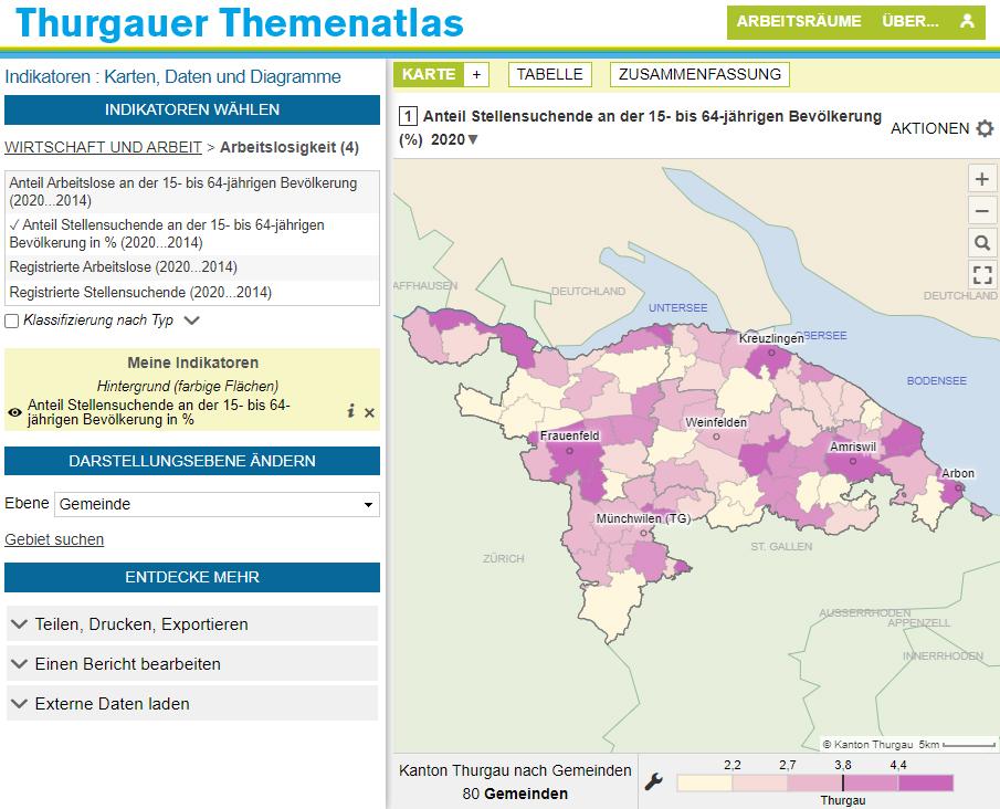 Atlas du canton de Thurgovie - Taux de chômage