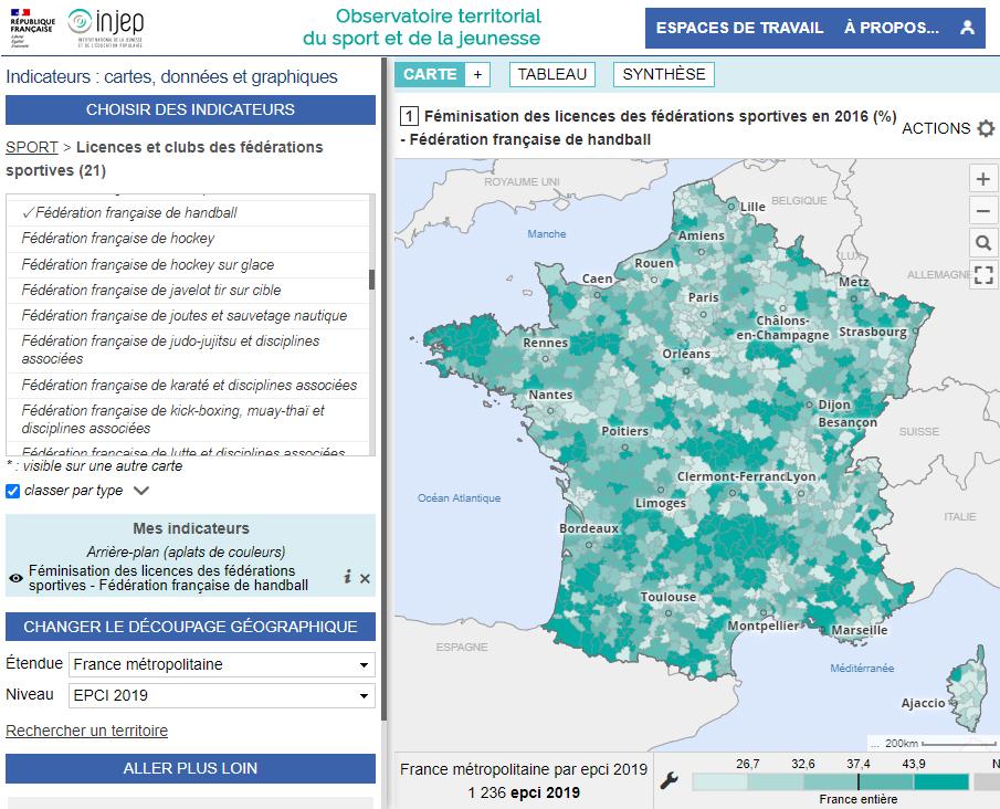 Observatoire territorial du sport (INJEP) - Féminisation des licences sportives