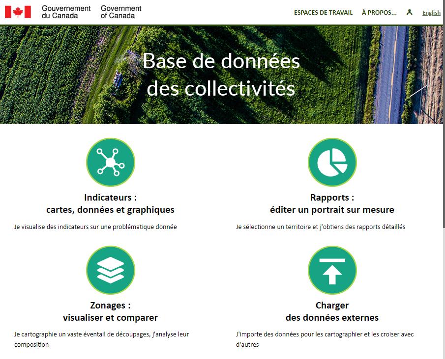 Base de données des collectivités (Gouvernement du Canada) - Accueil