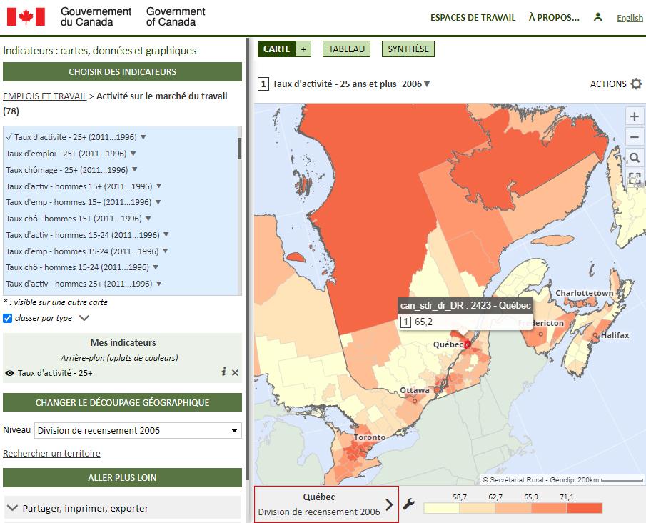 Base de données des collectivités (Gouvernement du Canada) - Taux d'activité des 25 ans et plus