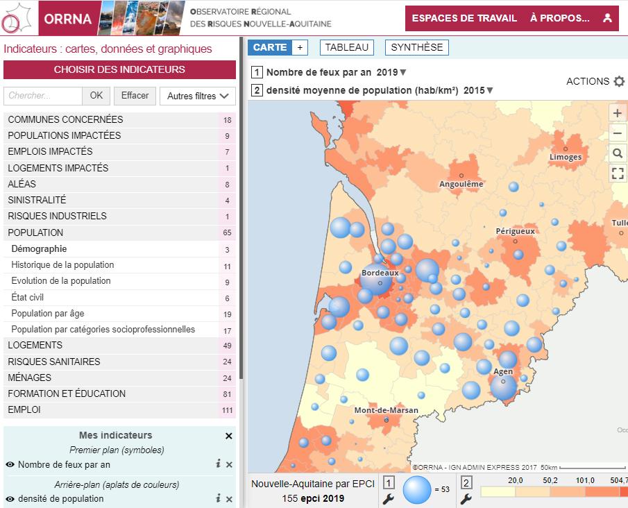 Observatoire Régional des Risques Nouvelle-Aquitaine (ORRNA) - Nombre de feux