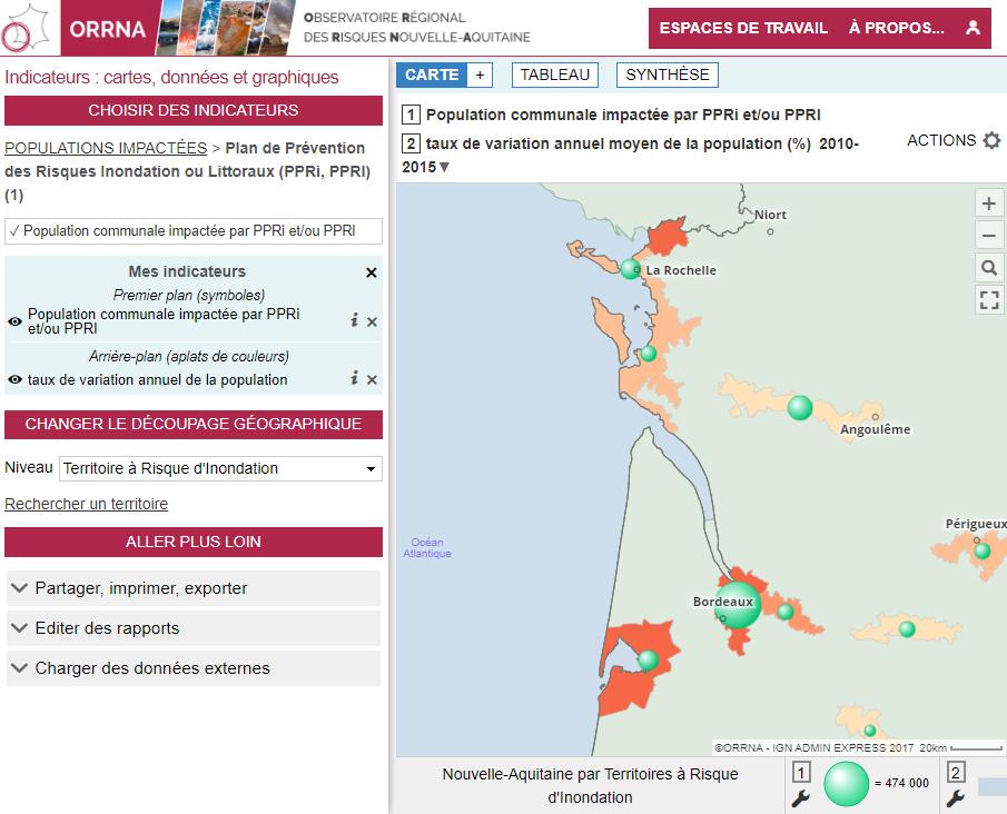 Observatoire Régional des Risques Nouvelle-Aquitaine (ORRNA) - Population impactée par un PPRI et/ou un PPRL