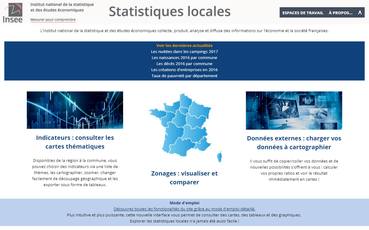 page d'accueil Insee Statistiques locales