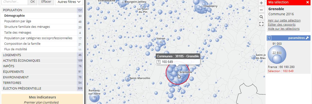 Je sélectionne la commune de Grenoble.