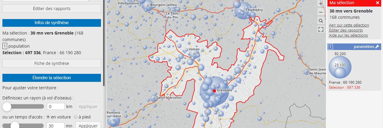 J'étends la sélection aux communes situées à 30 mn de route de Grenoble.