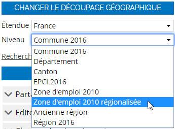menu niveaux géographiques