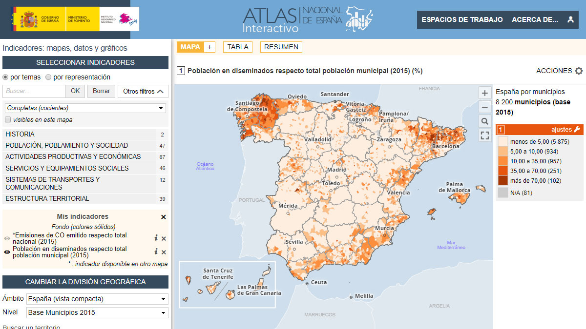 Atlas Interactivo de España : carte thématique