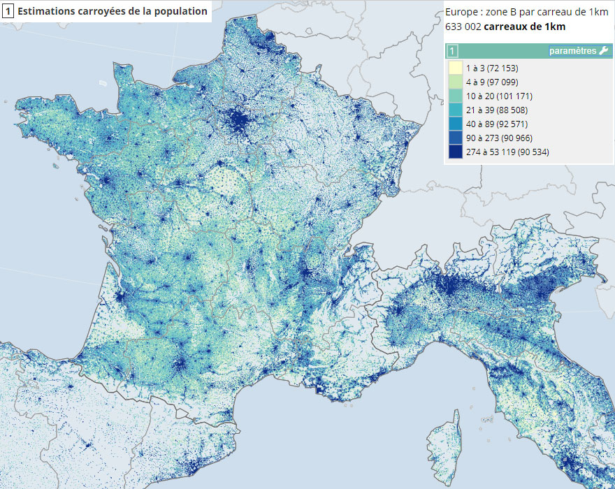 estimation carroyée de la population