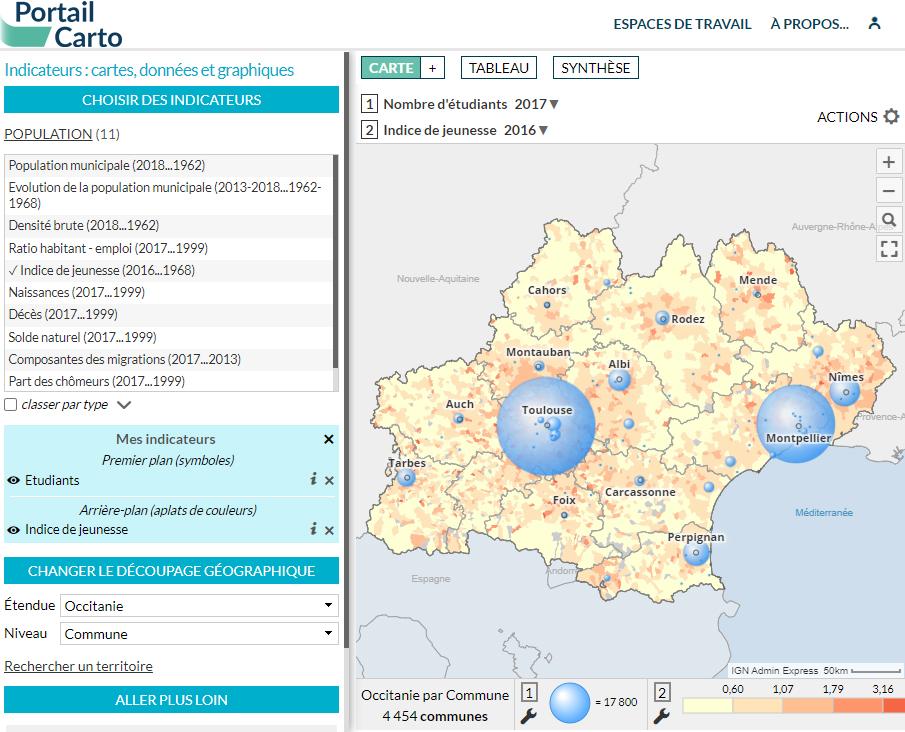 Portail Carto de l'Agence d'urbanisme et d'aménagement de Toulouse - Étudiants