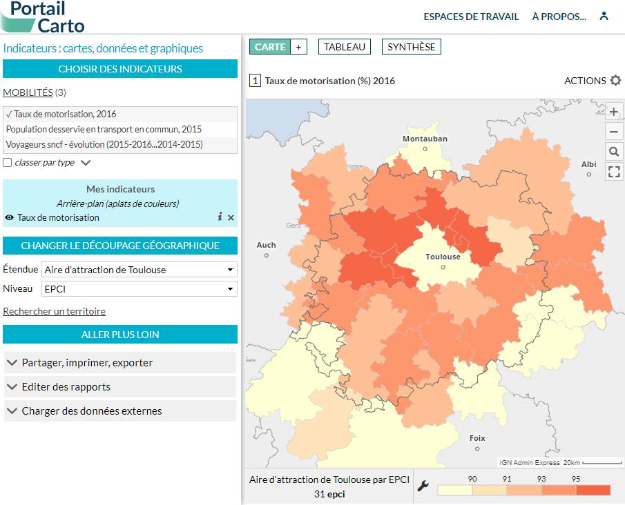 Portail Carto de l'Agence d'urbanisme et d'aménagement de Toulouse - Motorisation