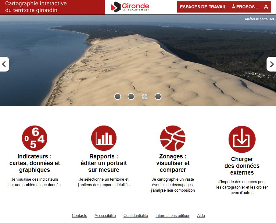Cartographie interactive du territoire girondin - Page d'accueil