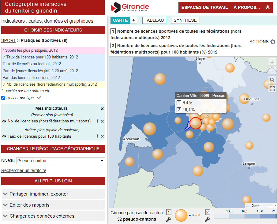 Cartographie interactive du territoire girondin - Licences sportives