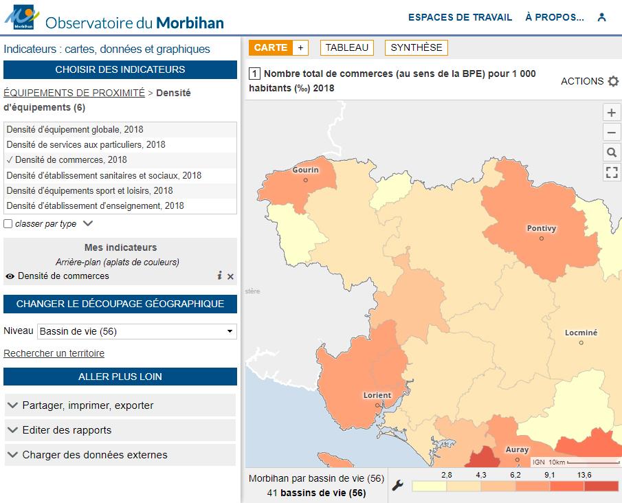Observatoire du département du Morbihan - Commerces