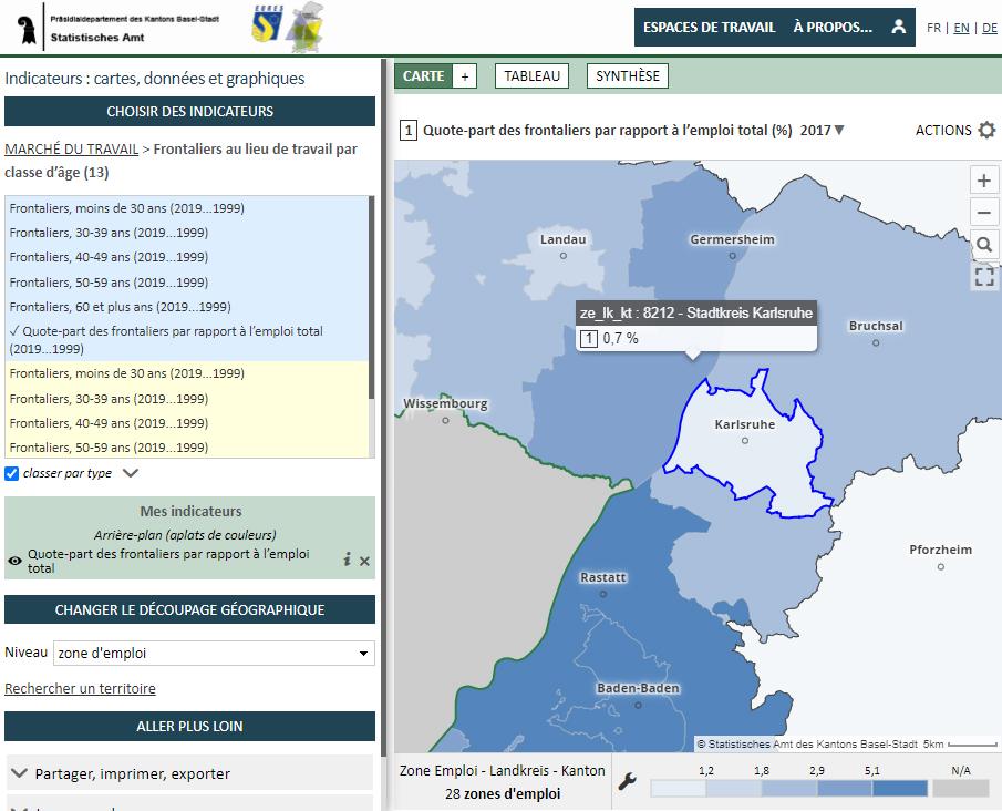 Observatoire du marché du travail - Quote-part frontaliers