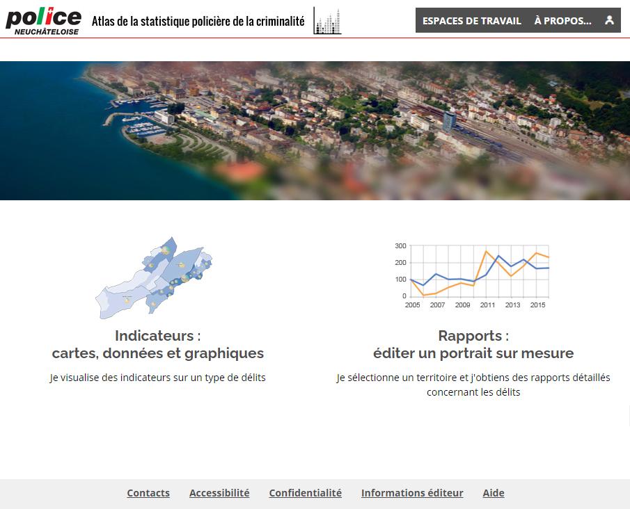 Atlas de la statistique policière de la criminalité du Canton de Neuchâtel (Suisse) - Page d'accueil