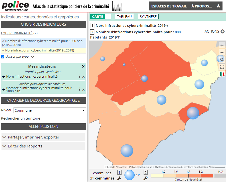 Atlas de la statistique policière de la criminalité du Canton de Neuchâtel (Suisse) - Cybercriminalité