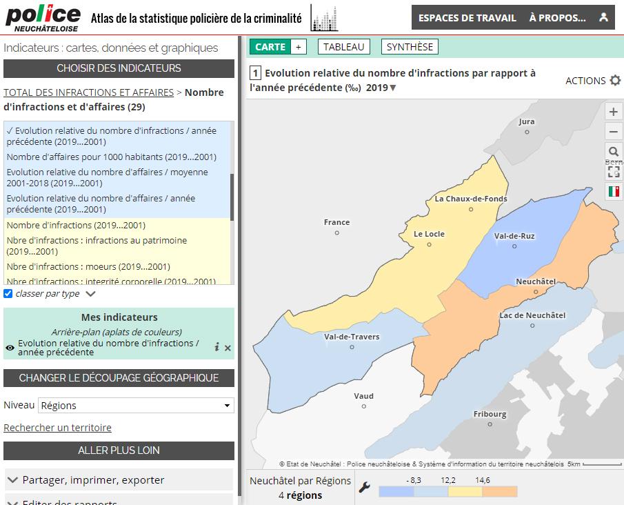 Atlas de la statistique policière de la criminalité du Canton de Neuchâtel (Suisse) - Évolution des infractions
